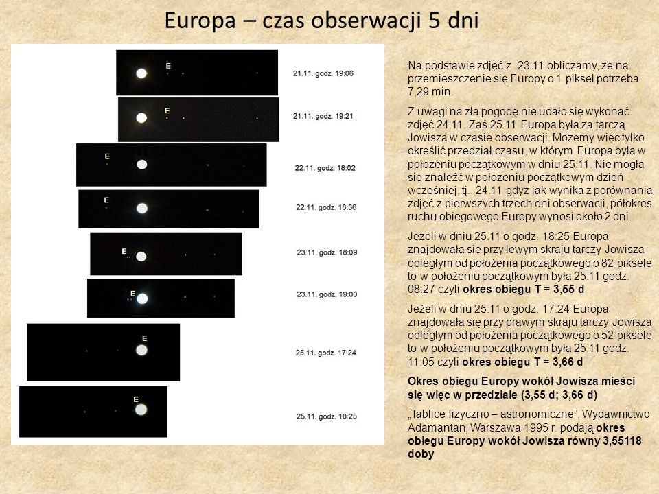 Europa – czas obserwacji 5 dni
