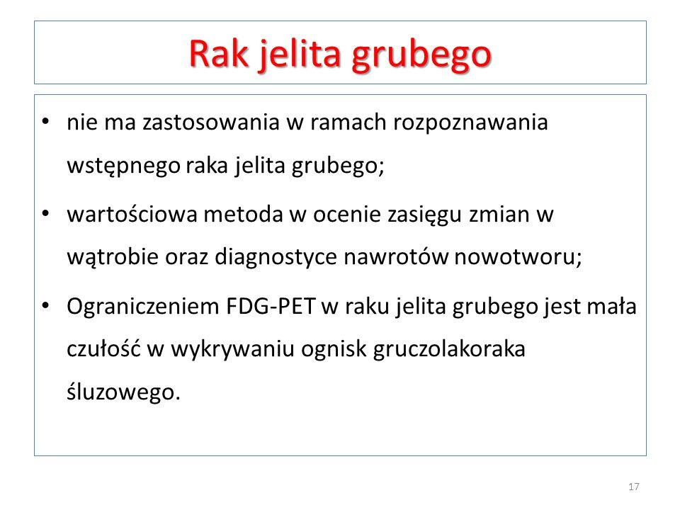 Rak jelita grubegonie ma zastosowania w ramach rozpoznawania wstępnego raka jelita grubego;