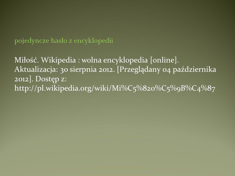 pojedyncze hasło z encyklopedii