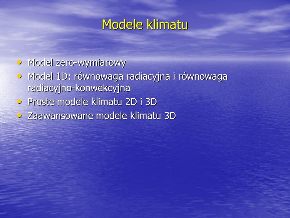Modele klimatu Model zero-wymiarowy