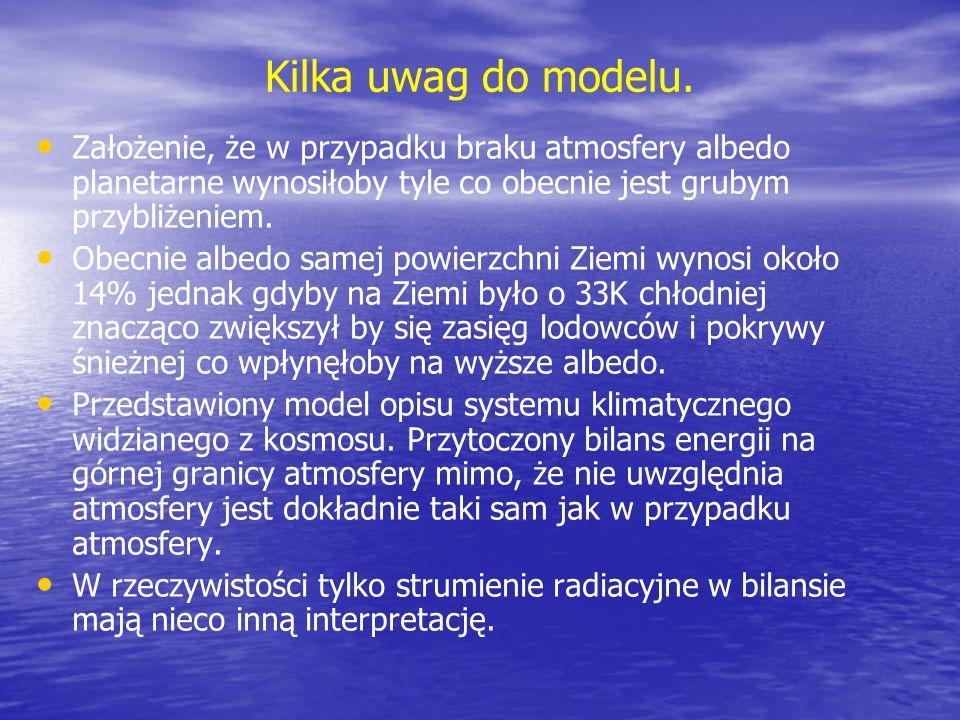 Kilka uwag do modelu. Założenie, że w przypadku braku atmosfery albedo planetarne wynosiłoby tyle co obecnie jest grubym przybliżeniem.