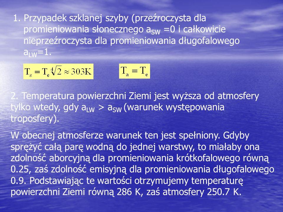 1. Przypadek szklanej szyby (przeźroczysta dla promieniowania słonecznego aSW =0 i całkowicie nieprzeźroczysta dla promieniowania długofalowego aLW=1.
