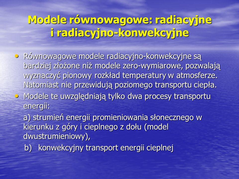 Modele równowagowe: radiacyjne i radiacyjno-konwekcyjne