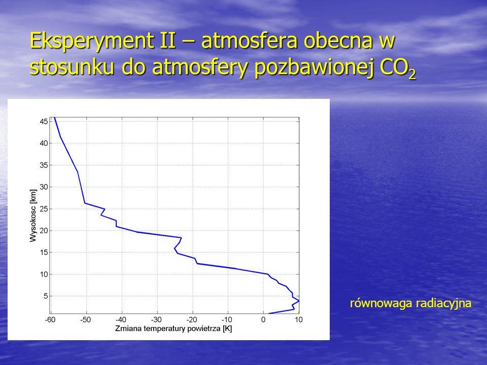 Eksperyment II – atmosfera obecna w stosunku do atmosfery pozbawionej CO2