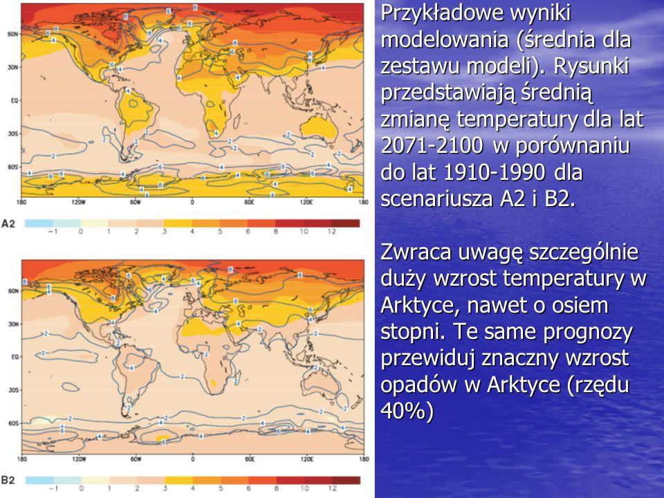 Przykładowe wyniki modelowania (średnia dla. zestawu modeli). Rysunki. przedstawiają średnią. zmianę temperatury dla lat.