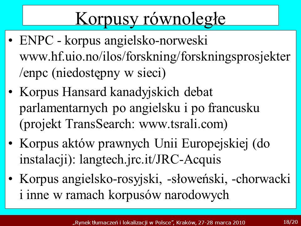 Korpusy równoległe ENPC - korpus angielsko-norweski www.hf.uio.no/ilos/forskning/forskningsprosjekter/enpc (niedostępny w sieci)