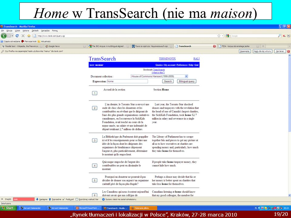 Home w TransSearch (nie ma maison)