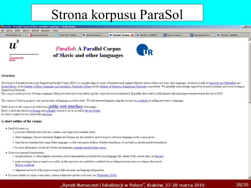 Strona korpusu ParaSol