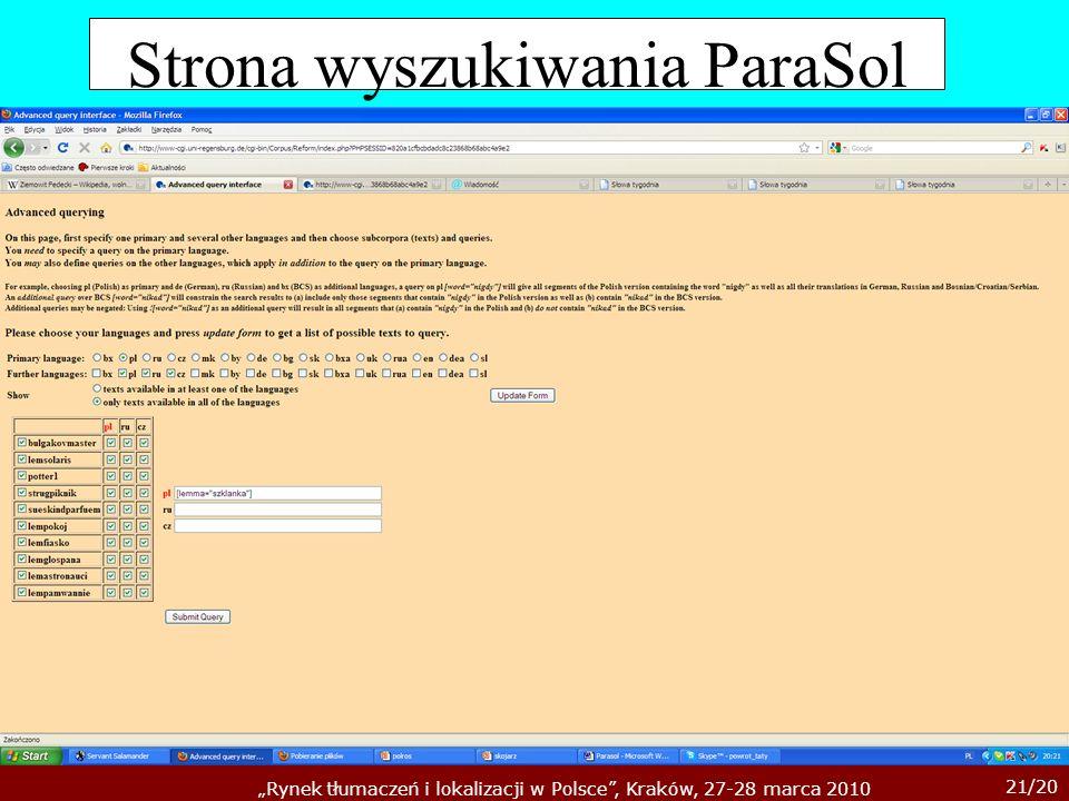 Strona wyszukiwania ParaSol