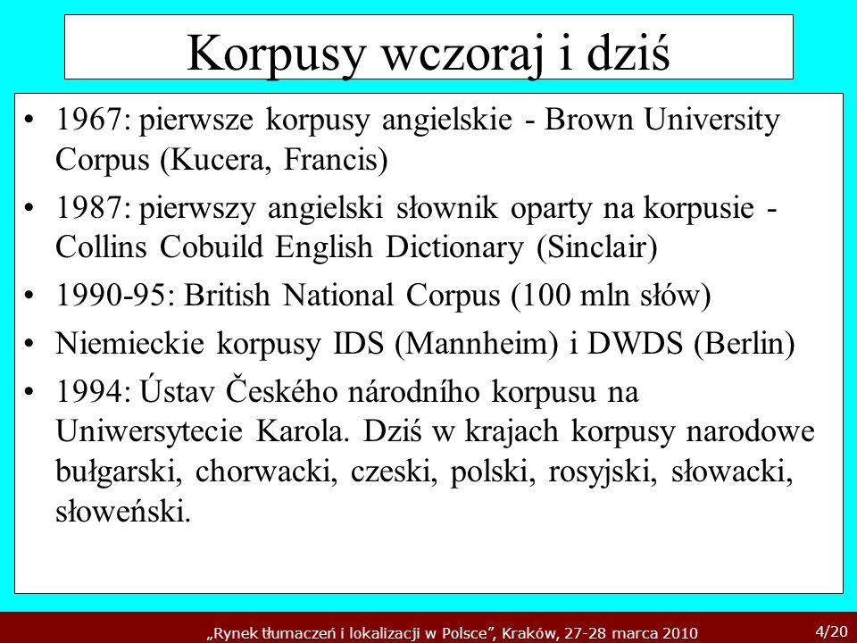 Korpusy wczoraj i dziś1967: pierwsze korpusy angielskie - Brown University Corpus (Kucera, Francis)
