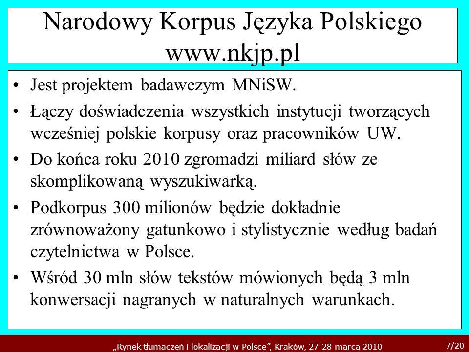 Narodowy Korpus Języka Polskiego www.nkjp.pl