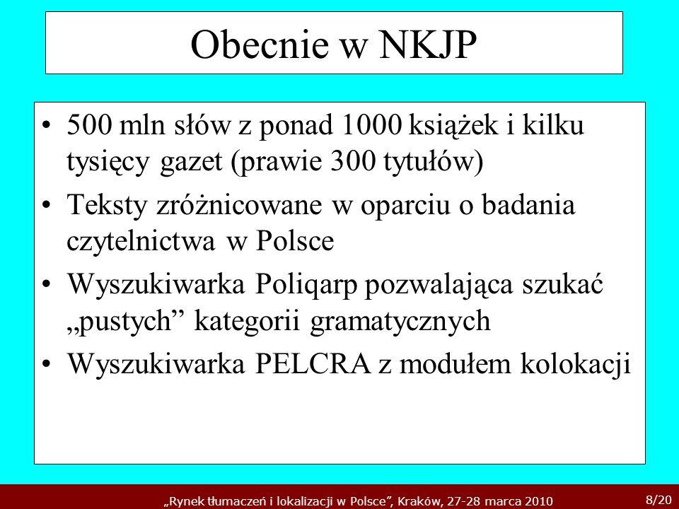 Obecnie w NKJP500 mln słów z ponad 1000 książek i kilku tysięcy gazet (prawie 300 tytułów)