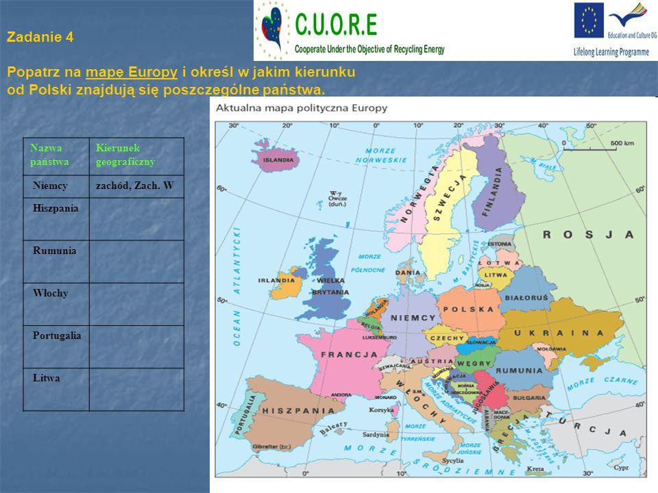 Popatrz na mapę Europy i określ w jakim kierunku