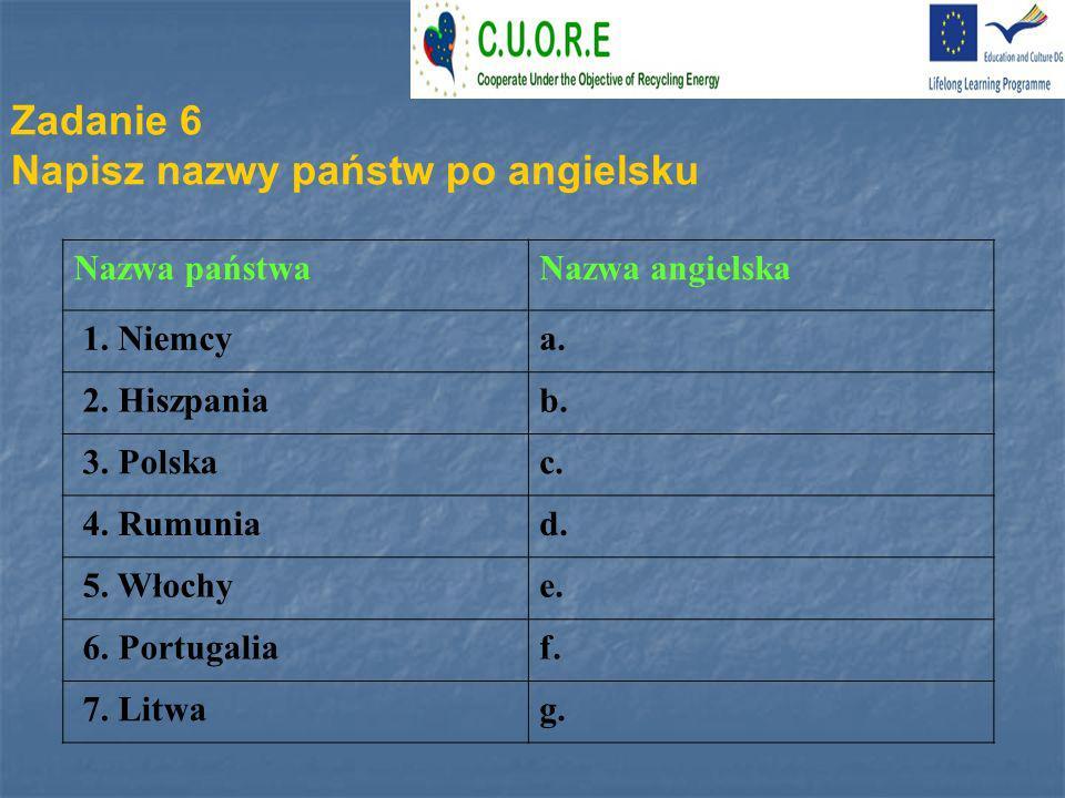 Napisz nazwy państw po angielsku