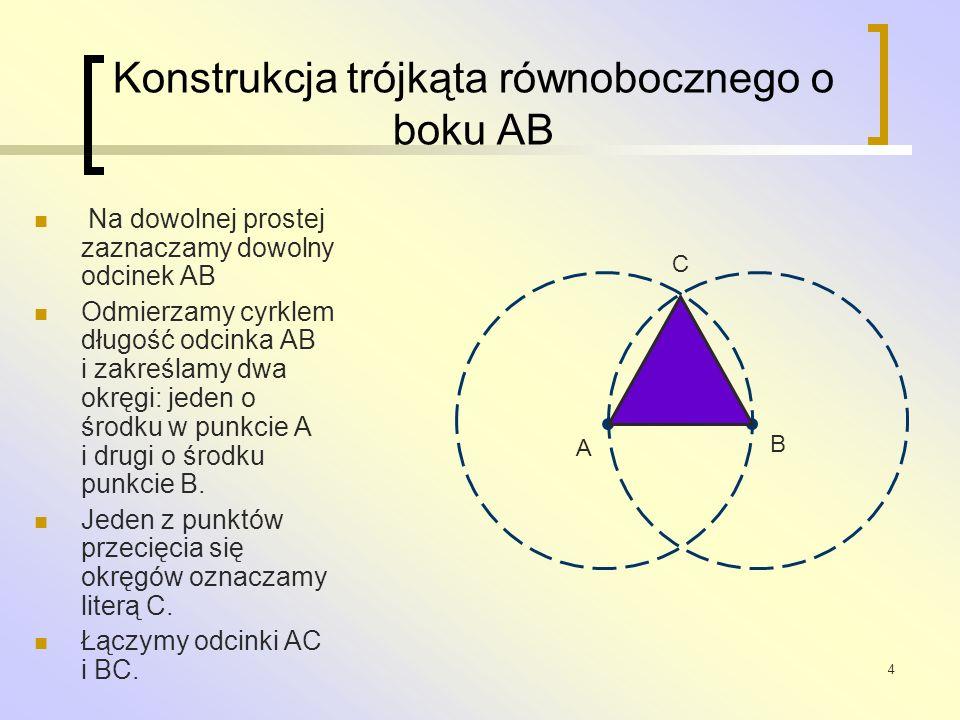 Konstrukcja trójkąta równobocznego o boku AB