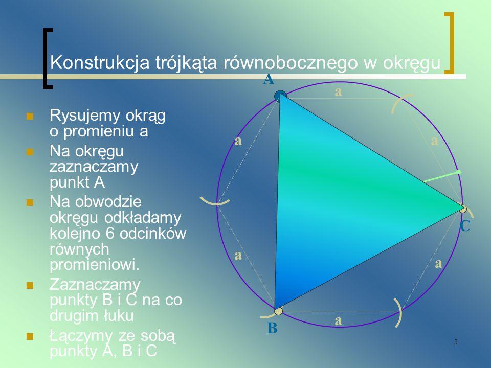 Konstrukcja trójkąta równobocznego w okręgu