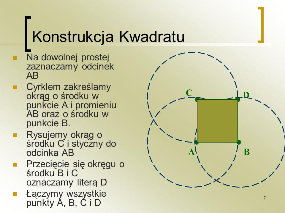 Konstrukcja Kwadratu Na dowolnej prostej zaznaczamy odcinek AB