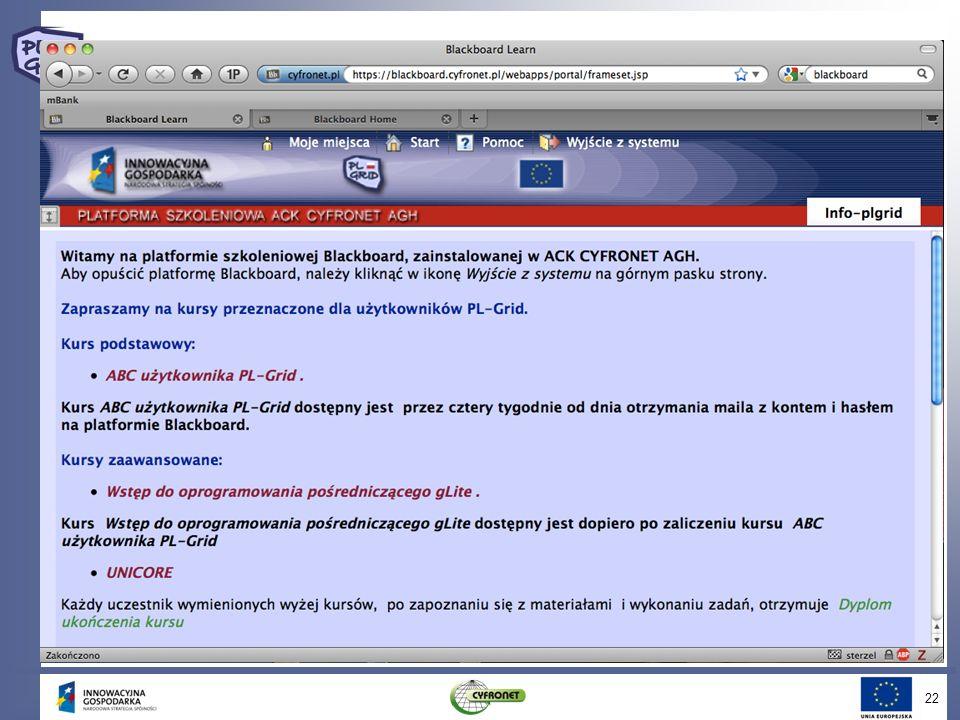 System szkoleń Pakiet 5 opracował zbiór szkoleń (zarówno tradycyjnych jak i on-line w systemie Blackboard)