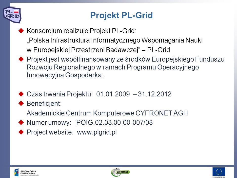 Projekt PL-Grid Konsorcjum realizuje Projekt PL-Grid: