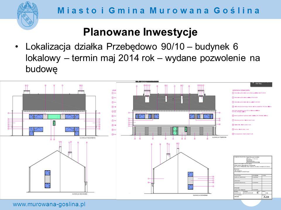 Planowane Inwestycje Lokalizacja działka Przebędowo 90/10 – budynek 6 lokalowy – termin maj 2014 rok – wydane pozwolenie na budowę.