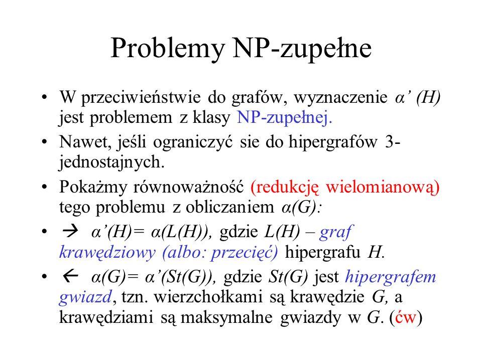 Problemy NP-zupełneW przeciwieństwie do grafów, wyznaczenie α' (H) jest problemem z klasy NP-zupełnej.