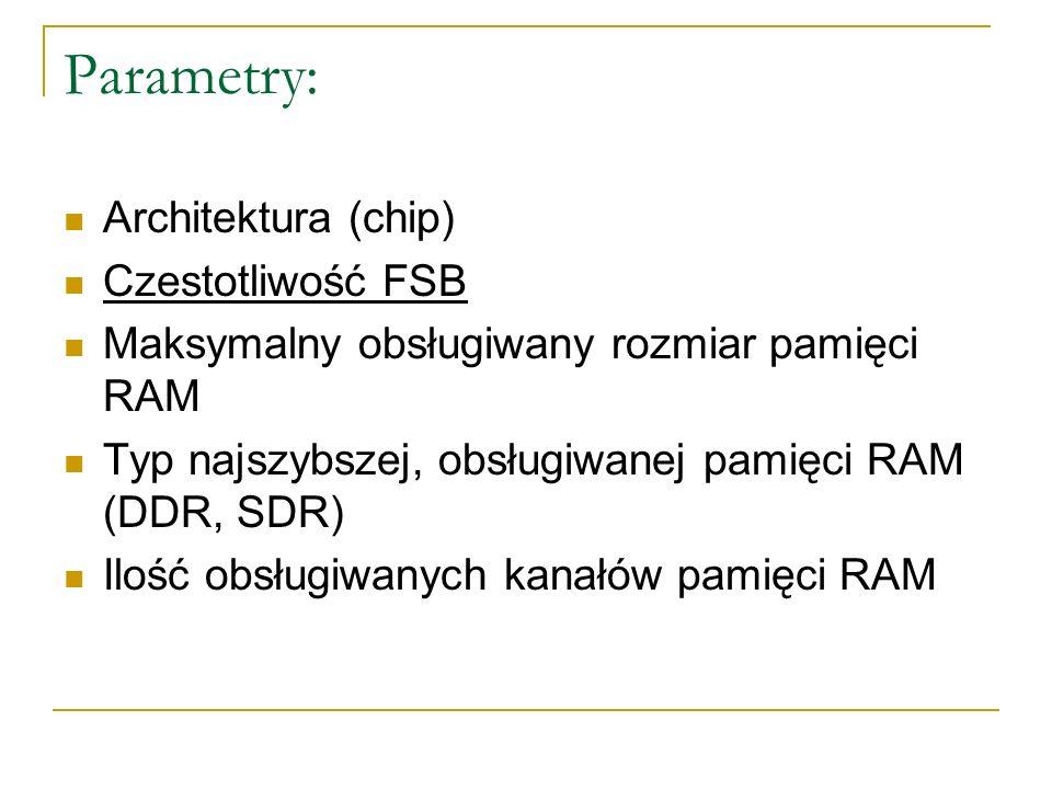 Parametry: Architektura (chip) Czestotliwość FSB