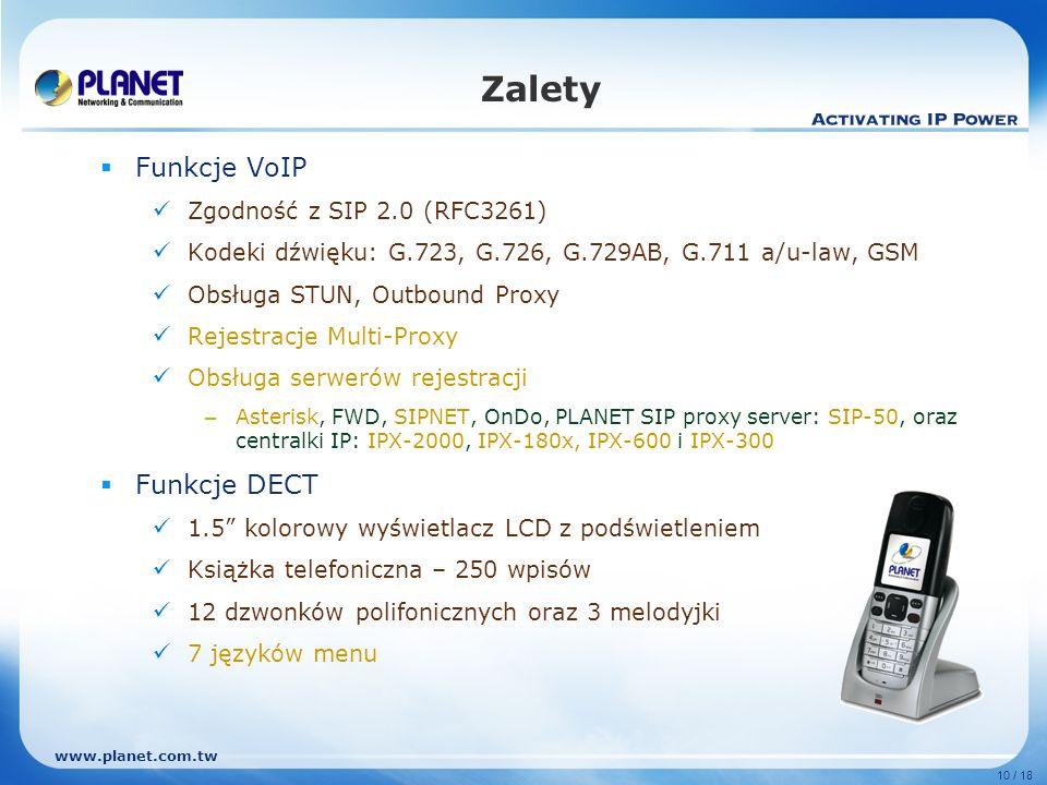 Zalety Funkcje VoIP Funkcje DECT Zgodność z SIP 2.0 (RFC3261)