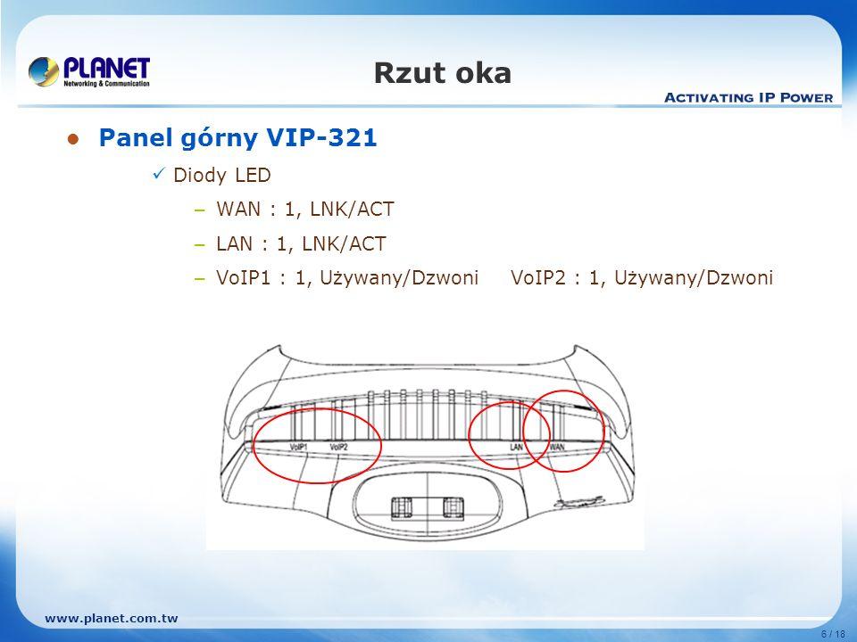 Rzut oka Panel górny VIP-321 Diody LED WAN : 1, LNK/ACT