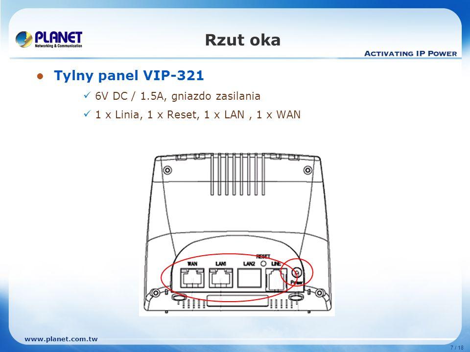 Rzut oka Tylny panel VIP-321 6V DC / 1.5A, gniazdo zasilania