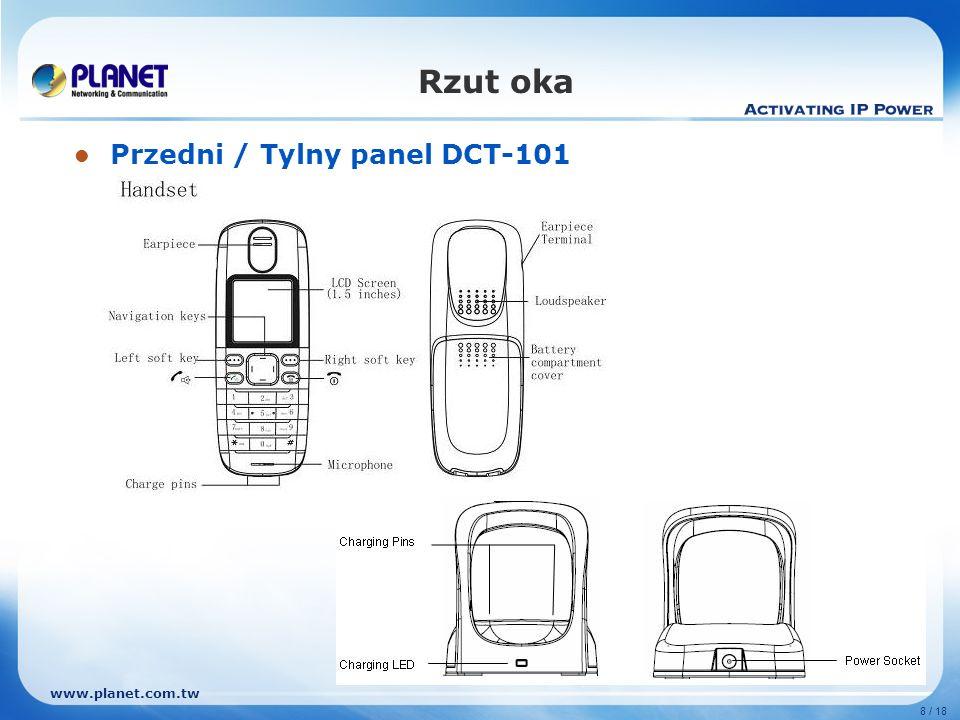 Rzut oka Przedni / Tylny panel DCT-101