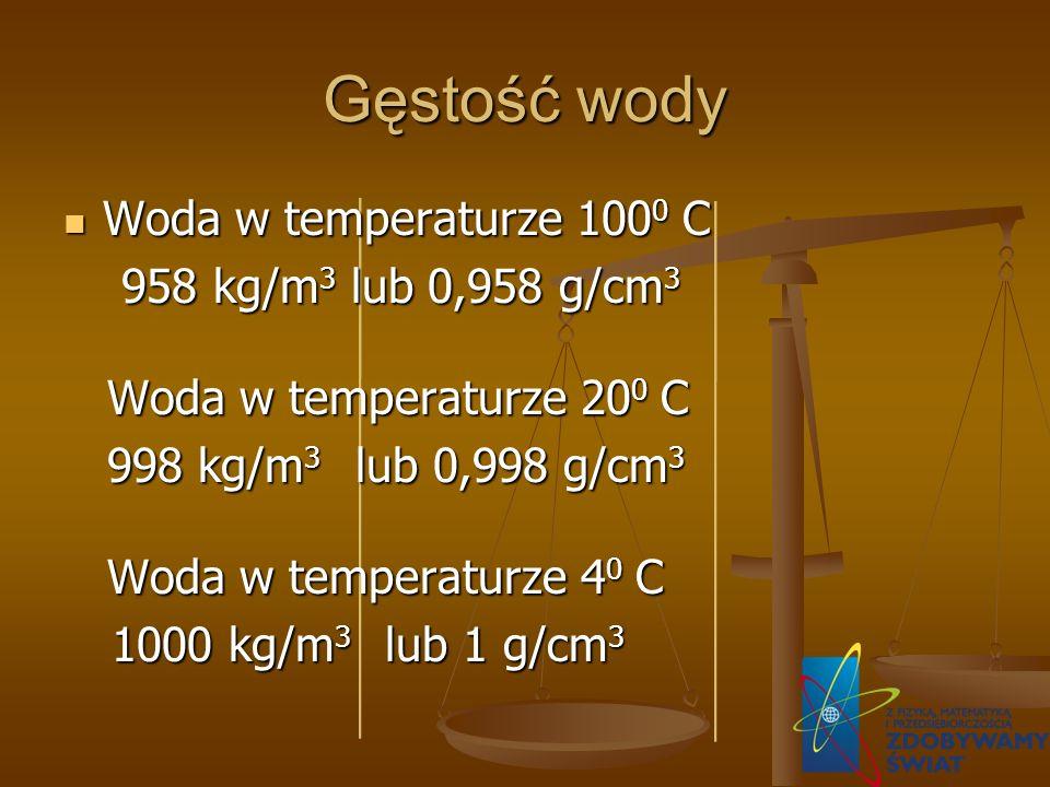 Gęstość wody Woda w temperaturze 1000 C 958 kg/m3 lub 0,958 g/cm3