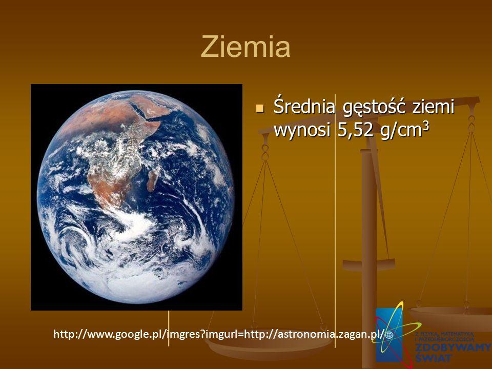 Ziemia Średnia gęstość ziemi wynosi 5,52 g/cm3