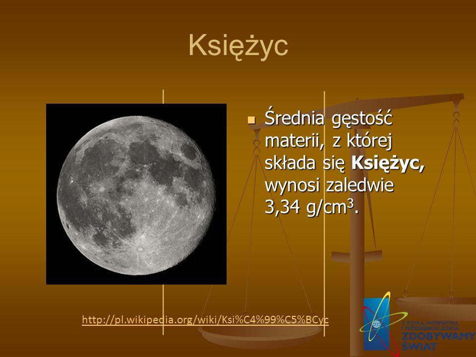 Księżyc Średnia gęstość materii, z której składa się Księżyc, wynosi zaledwie 3,34 g/cm3.