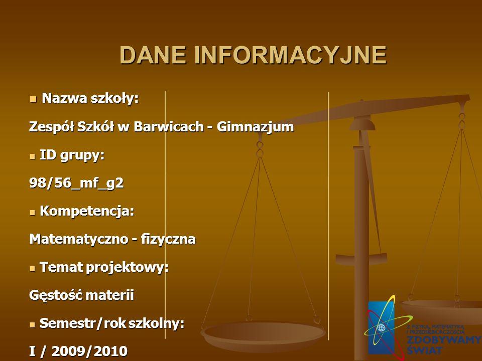 DANE INFORMACYJNE Nazwa szkoły: Zespół Szkół w Barwicach - Gimnazjum