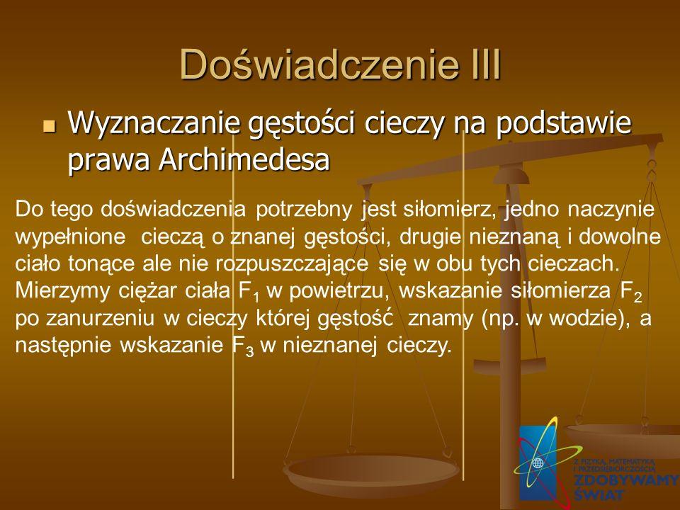 Doświadczenie III Wyznaczanie gęstości cieczy na podstawie prawa Archimedesa.