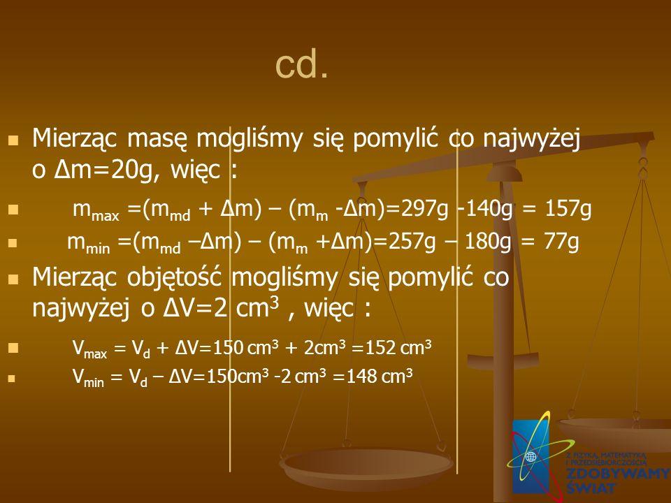 cd. Mierząc masę mogliśmy się pomylić co najwyżej o Δm=20g, więc :