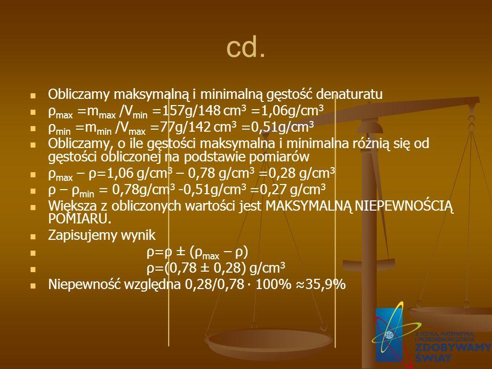 cd. Obliczamy maksymalną i minimalną gęstość denaturatu