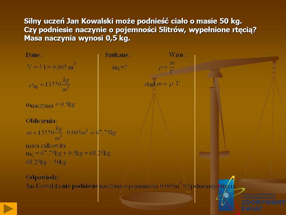 Silny uczeń Jan Kowalski może podnieść ciało o masie 50 kg