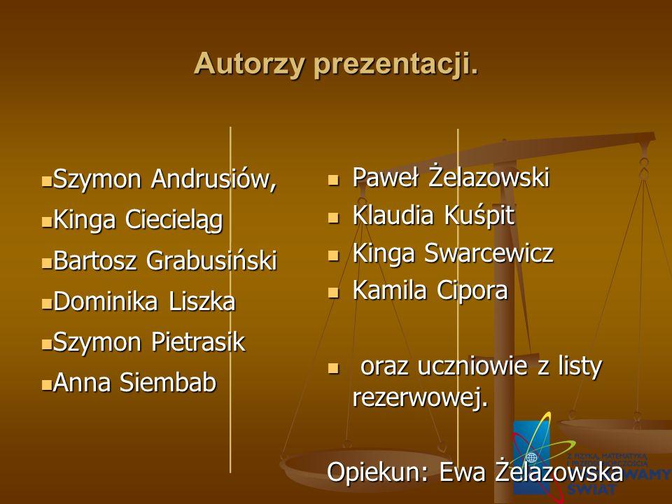 Autorzy prezentacji. Szymon Andrusiów, Kinga Ciecieląg