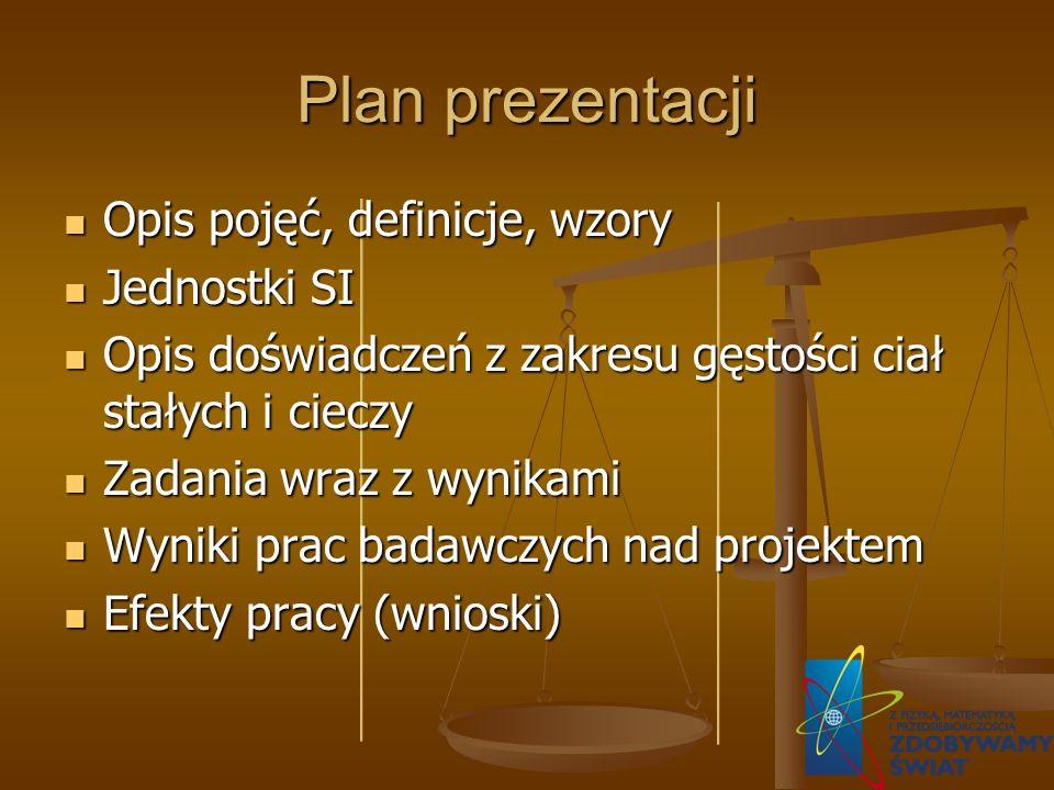 Plan prezentacji Opis pojęć, definicje, wzory Jednostki SI