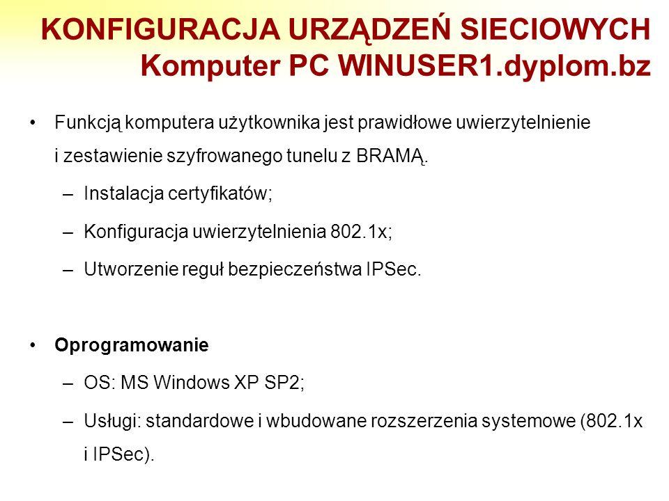 KONFIGURACJA URZĄDZEŃ SIECIOWYCH Komputer PC WINUSER1.dyplom.bz