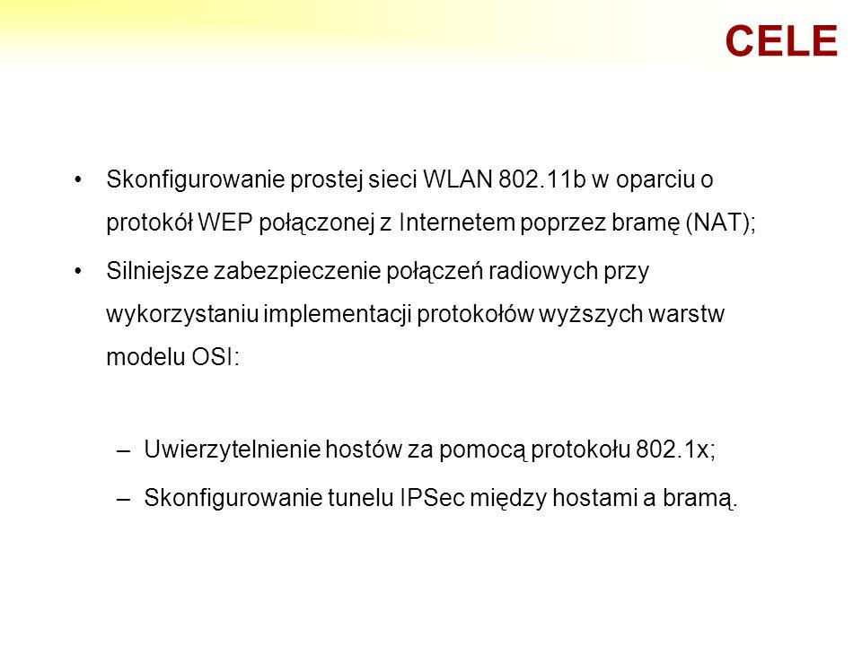 CELE Skonfigurowanie prostej sieci WLAN 802.11b w oparciu o protokół WEP połączonej z Internetem poprzez bramę (NAT);