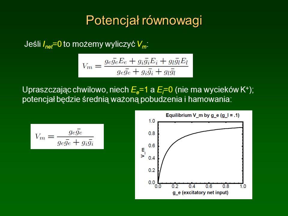 Potencjał równowagi Jeśli Inet=0 to możemy wyliczyć Vm: