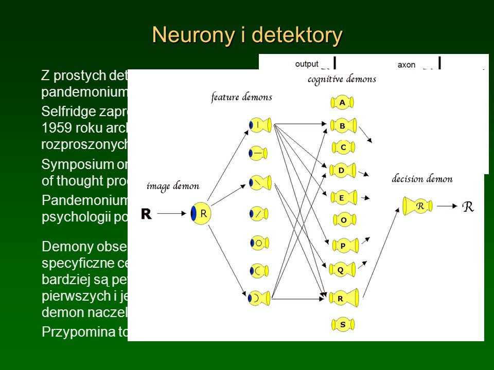 Neurony i detektory Z prostych detektorów zbudujemy pandemonium: