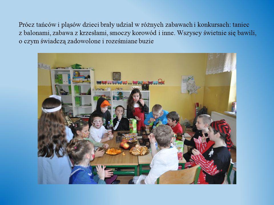 Prócz tańców i pląsów dzieci brały udział w różnych zabawach i konkursach: taniec z balonami, zabawa z krzesłami, smoczy korowód i inne.