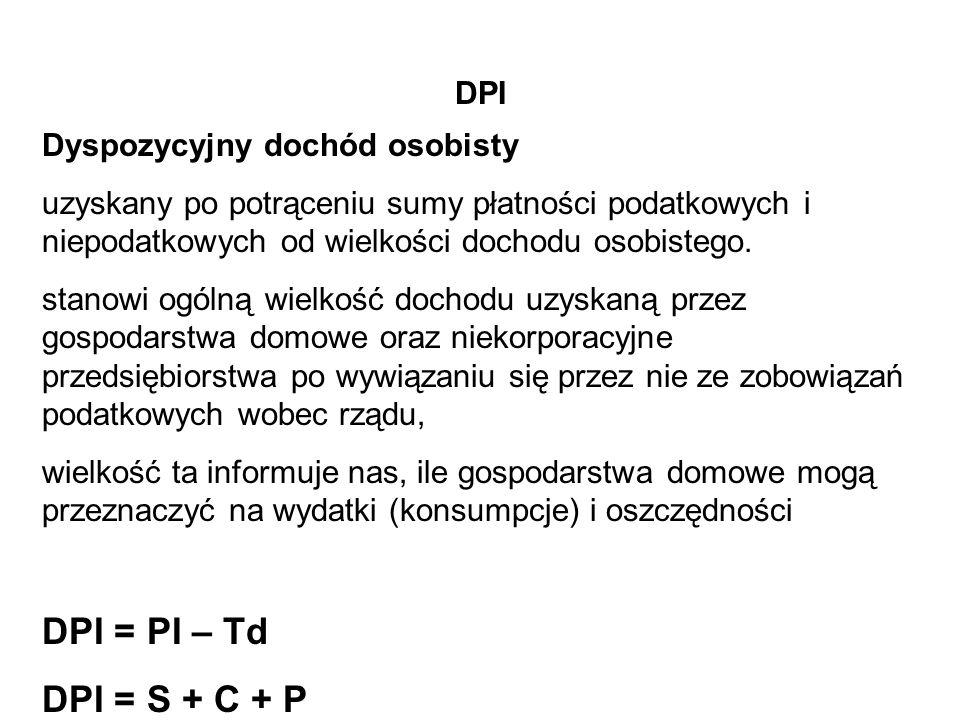 DPI = PI – Td DPI = S + C + P DPI Dyspozycyjny dochód osobisty