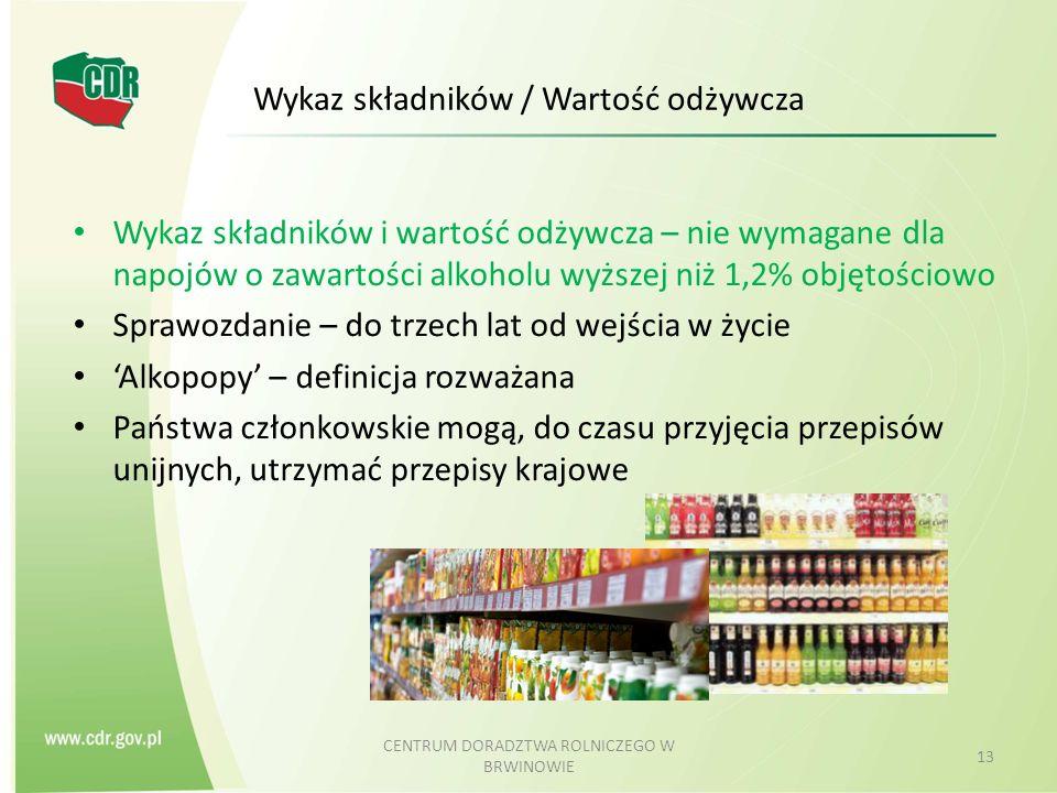 Wykaz składników / Wartość odżywcza
