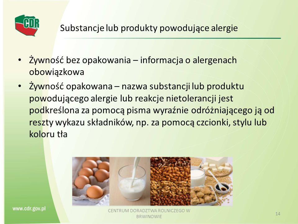 Substancje lub produkty powodujące alergie