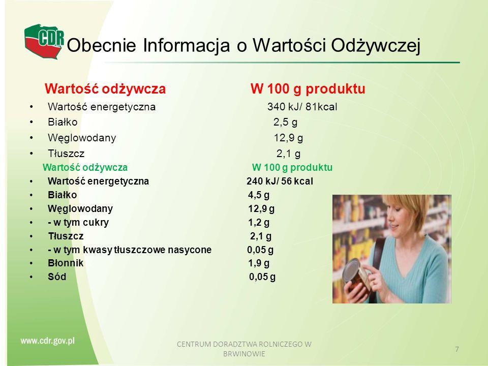 Obecnie Informacja o Wartości Odżywczej
