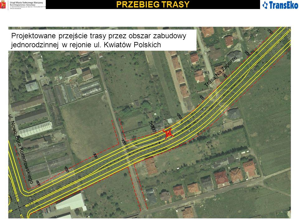 PRZEBIEG TRASY Projektowane przejście trasy przez obszar zabudowy jednorodzinnej w rejonie ul.
